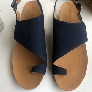 Lucky Brand Shoes - Lucky Brand navy leather wedges espadrilles 11M